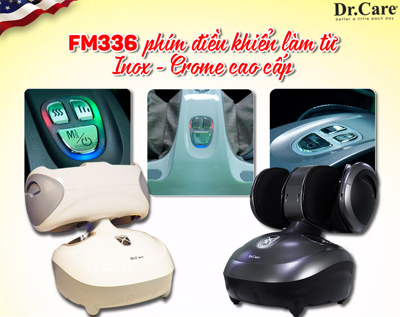 Massage chân FM336 hoàn toàn khác biệt - Đúc nguyên khối - Phím điều khiển làm từ Inox- Crome cao cấp.