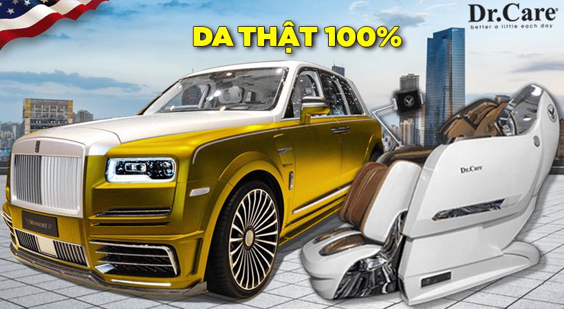 Siêu xe Rolls Royce Cullinan và ghế massage Xreal 929S đều dùng Bộ da thật 100% sản xuất tại Vương Quốc Anh (Made in the U.K).