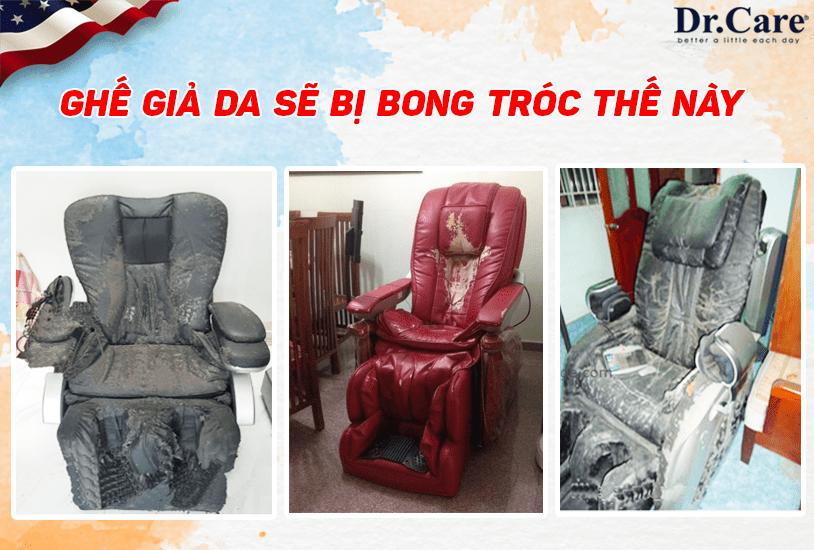 Ghế giả da sẽ bị bong tróc như thế này sau 1-2 năm sử dụng, bạn sẽ làm gì với chiếc ghế xấu xí này ?. Ghế XR966 được bảo hành 10 năm – Da ghế bảo hành 5 năm miễn phí.