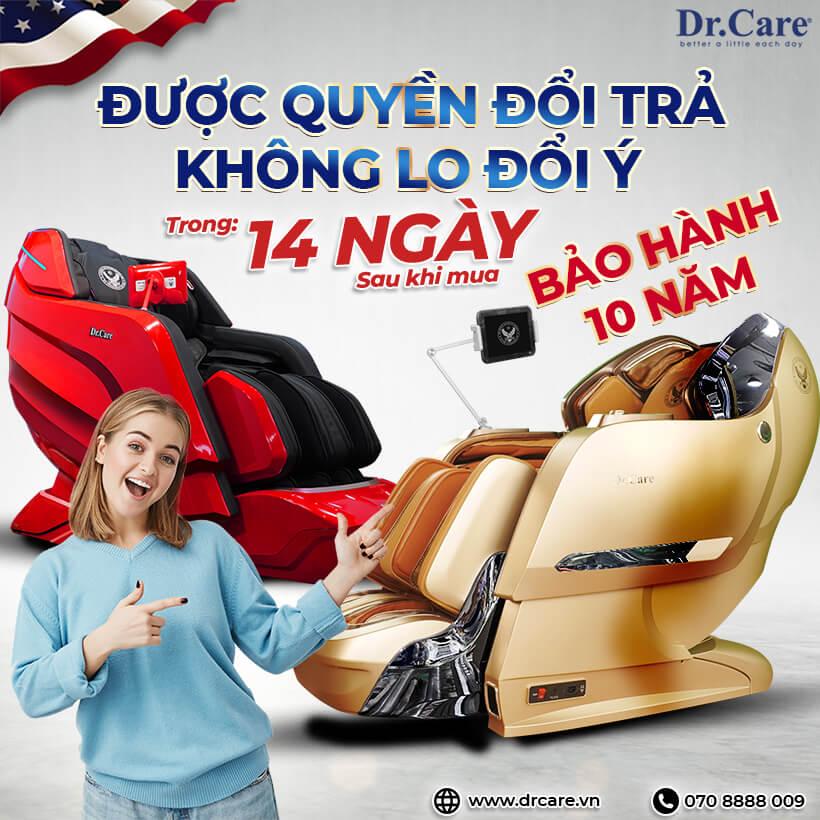 Ghế massage Dr.Care bảo hành miễn phí lên đến 10 năm áp dụng cho toàn bộ các dòng ghế