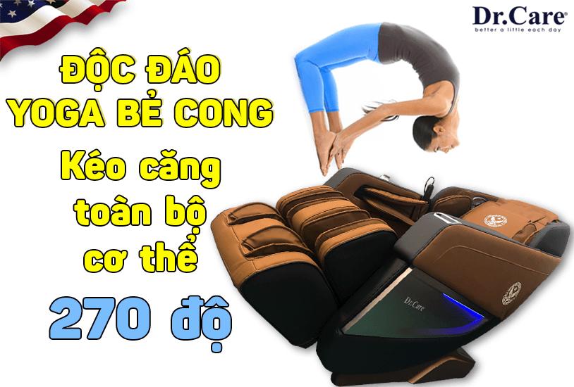 Chức năng Yoga bẻ cong-kéo giãn toàn bộ cơ thể 270 độ, duy nhất tại Dr.Care AZ 849S, điều mà những loại ghế rẻ tiền không bao giờ làm được !.