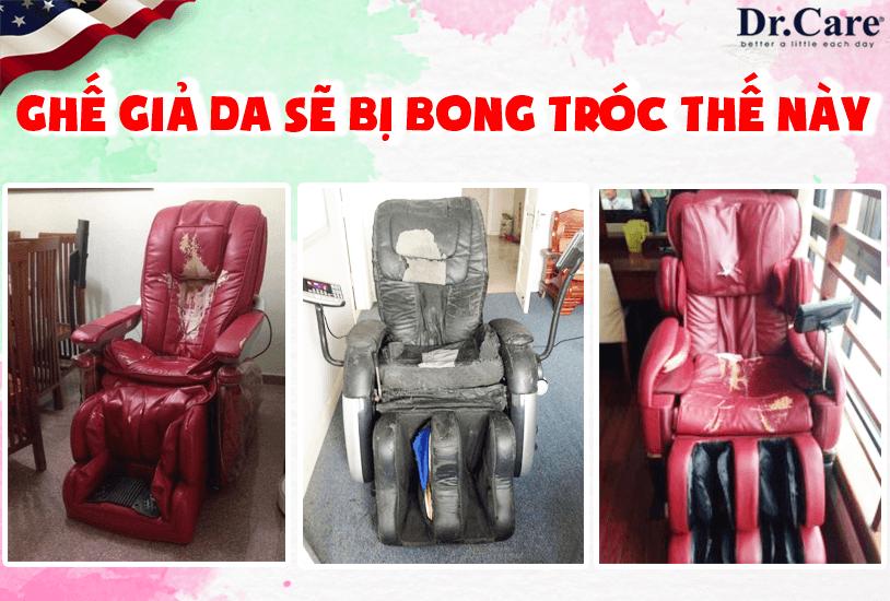 Ghế giả da sẽ bị bong tróc như thế này sau 1-2 năm sử dụng, bạn sẽ làm gì với chiếc ghế xấu xí này ?. Da ghế Dr.Care DR-AZ849S được bảo hành 5 năm Miễn Phí.
