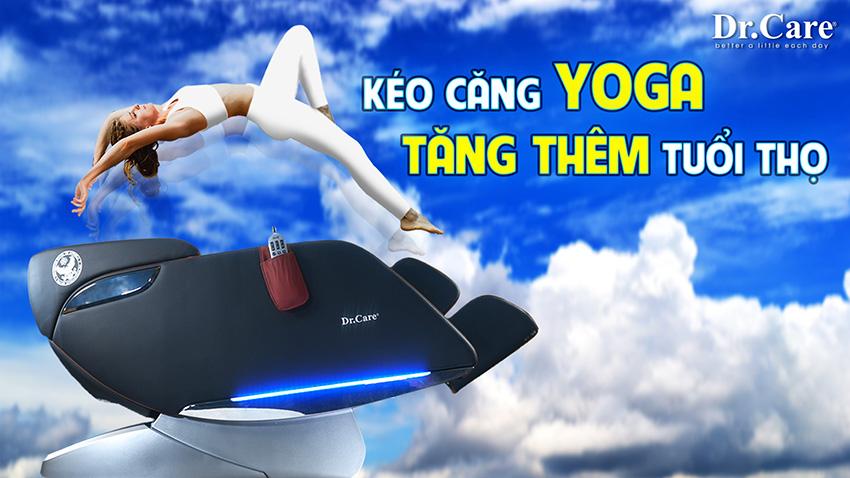 Chức năng Yoga bẻ cong-kéo giãn toàn bộ cơ thể 270 độ, duy nhất tại Dr.Care XR 923, điều mà những loại ghế rẻ tiền không bao giờ làm được !.